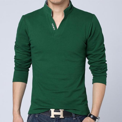 Casual Striped Cotton T-shirt for Men with O-Neck and Long Sleeves - SolaceConnect.com