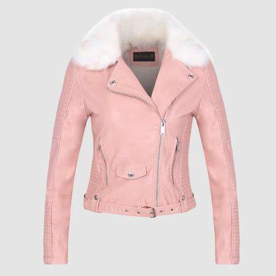 Women's Synthetic Leather Warm Fur Collar Winter Coat in White Black Pink - SolaceConnect.com
