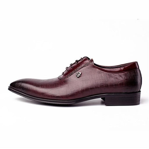Black Burgandy Genuine Leather Brogue Men's Flats Shoes with Pointed Toe - SolaceConnect.com