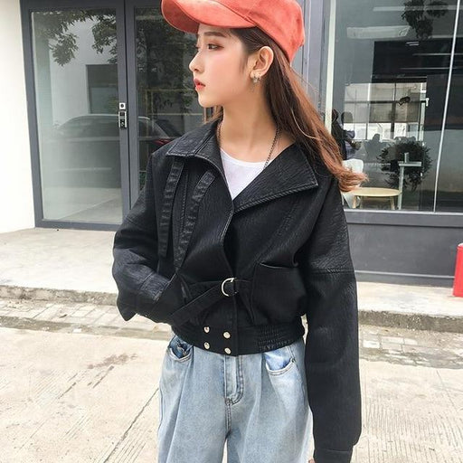 Black Soft Synthetic Leather Short Loose Fit Casual Biker Jacket for Women - SolaceConnect.com