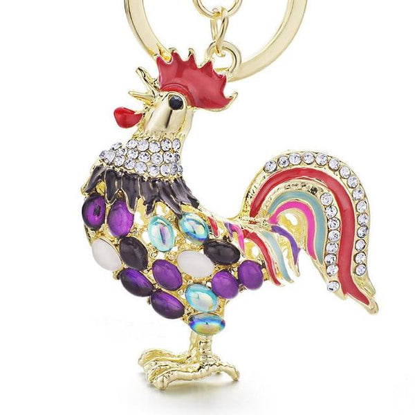 Pretty Cute Opals Cock Rooster Chicken Keychains Crystal Bag Pendant Rhinestone Luxury Key Chains - SolaceConnect.com