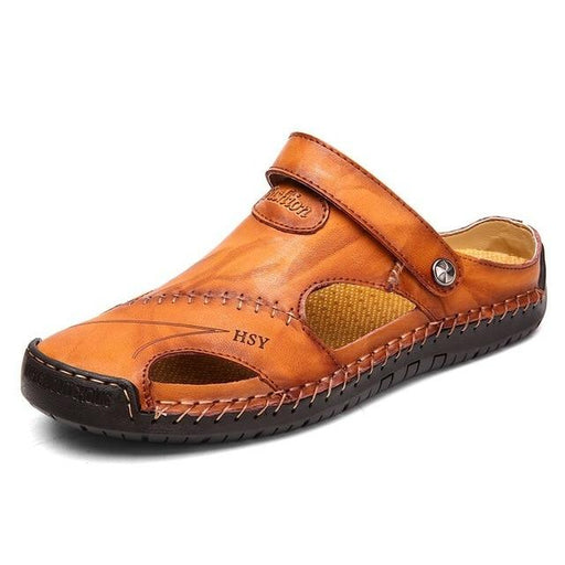Men's Leather Classic Roman Outdoor Beach Rubber Flip Sandals - SolaceConnect.com