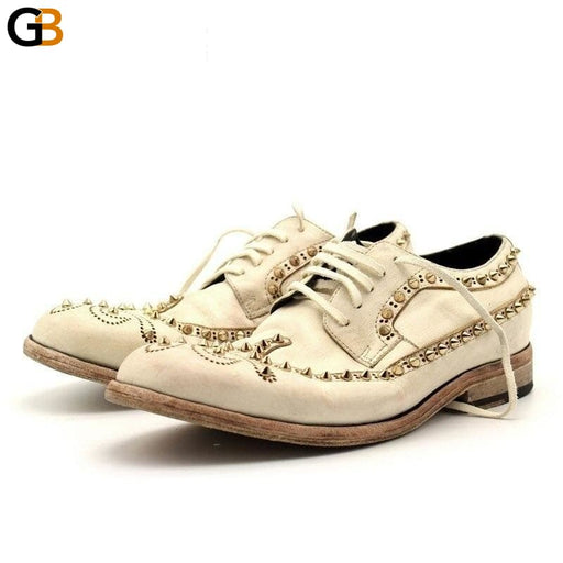 Luxury Handmade Genuine Leather Mens Derby Shoes Runway Rivet Wing Tip Wedding Party Dress Shoes - SolaceConnect.com