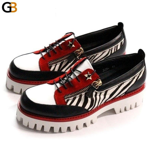 Handmade Adult Male Tennis Luxury Shoes Men Genuine Leather Casual Man Loafers Thick Platform Lace - SolaceConnect.com