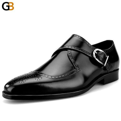 British Style Business Genuine Leather Mens Office Formal Footwear Pointed Buckle Strap Handmade Male Brogue Flats Dress Shoes - SolaceConnect.com