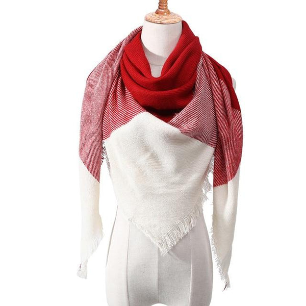 Designer Warm Winter Cashmere Shawl Pashmina Plaid Women's Neck Scarves - SolaceConnect.com