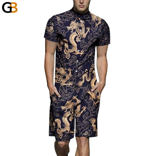 Men's Summer Vintage Beach 3D Dragon Print Short Sleeve Jumpsuit Playsuit - SolaceConnect.com