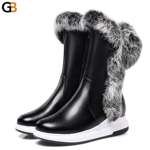 Black Animal Fur Women's Snow Boots with Flat Heels and Zipper - SolaceConnect.com