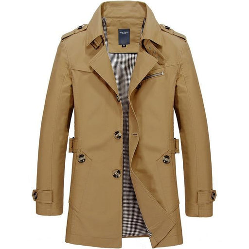 Men's Fashion Trench Overcoat Casual Spring Outerwear Jacket with Zipper - SolaceConnect.com
