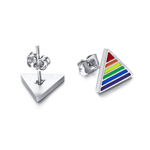 Stainless Steel Triangle Rainbow Stud Earrings for Women and Men - SolaceConnect.com