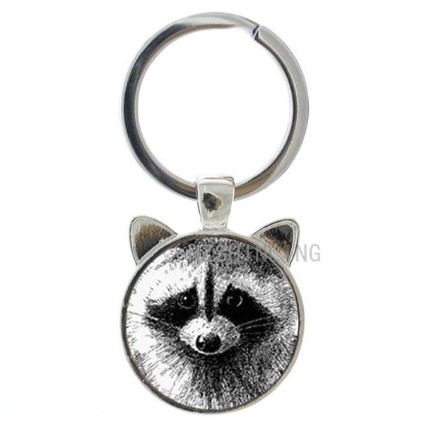 Vintage Charm Raccoon Wild Animal Ear Glass Dome Keychain Ring Holder - SolaceConnect.com