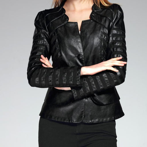 Spring Autumn Winter Patchwork Women's Leather Motorcycle Zipper Jacket - SolaceConnect.com