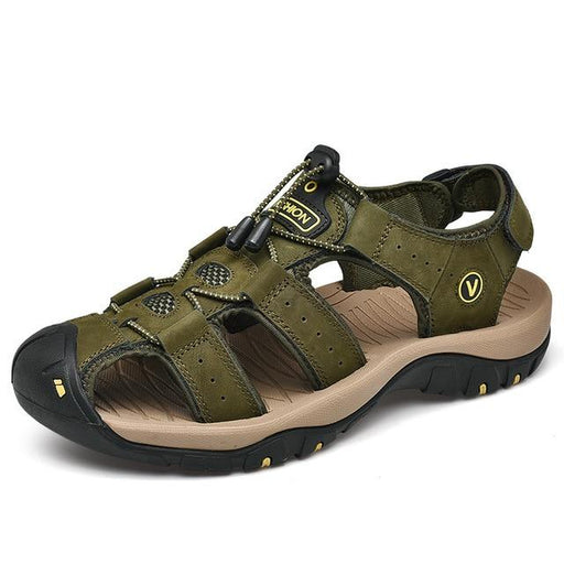 Genuine Leather Men's Summer Beach Sandals with Buckle Strap - SolaceConnect.com