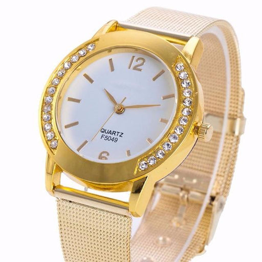 Women's Golden Crystal Stainless Steel Luxury Analog Wrist Watch Bracelet - SolaceConnect.com