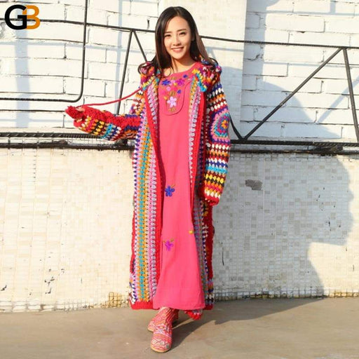 Handmade 100% Wool Long Sleeve Maxi National Sweaters for Women - SolaceConnect.com
