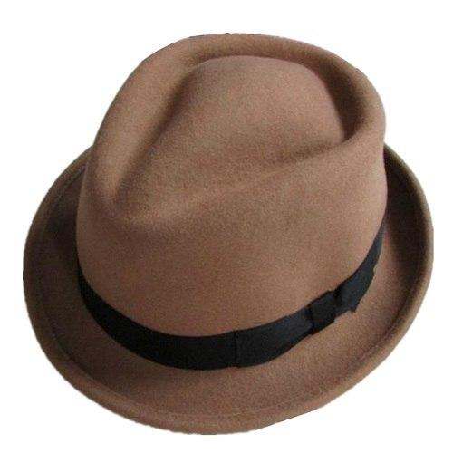 Black and Brown Wool Felt Trilby Fedora Hat with Diamond Crown Design - SolaceConnect.com