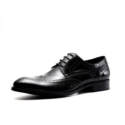 Men's Formal Oxford Shoes with Solid Pattern and Pointed Toe - SolaceConnect.com