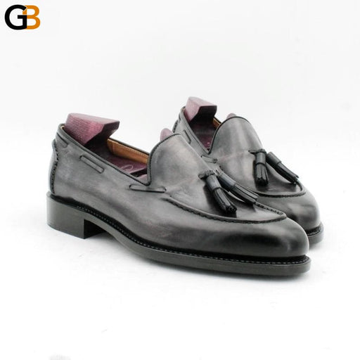 Round toe hand stitching tassels patina gray goodyear boat shoe handmade men's slip-on casual - SolaceConnect.com