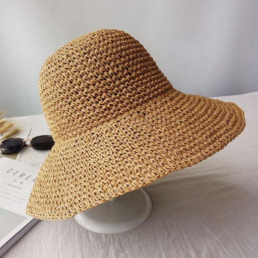 Summer Floppy Straw Visor Panama Bucket Sun Hat for Fashion Women - SolaceConnect.com
