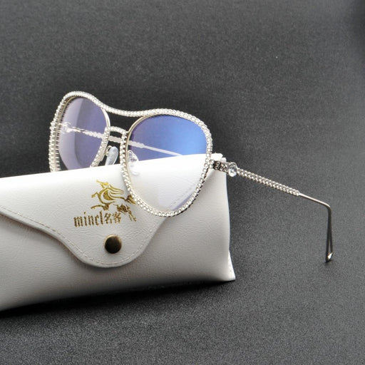 Luxury diamond metal Shades Glasses Female Unique Design Sun glasses Clear Lens Fashion Style - SolaceConnect.com