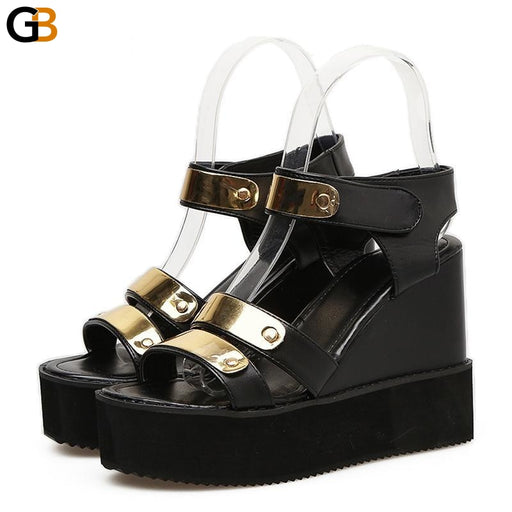 Summer Sexy Bling Hook Loop Ladies Casual Shoes with High Heel Platform - SolaceConnect.com