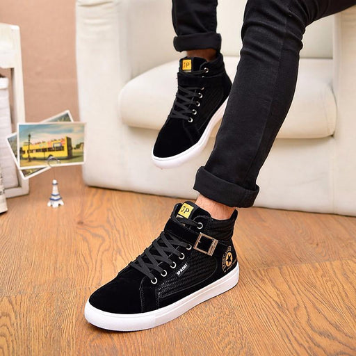 Men's Rubber Suede Breathable Lace-Up Casual Flat Shoes for Autumn - SolaceConnect.com