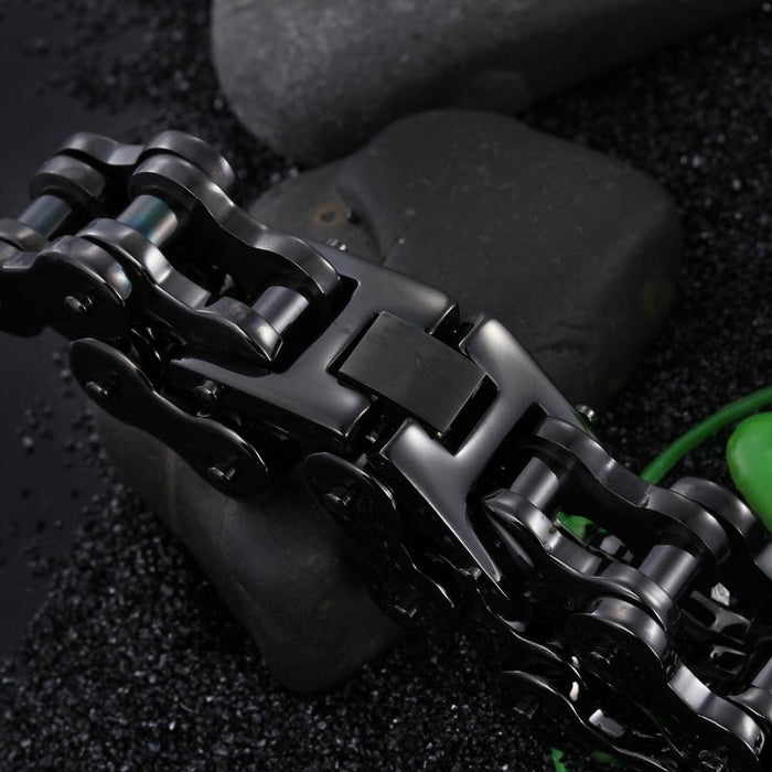 Fashion Black Color Bicycle Motorcycle Chain Men's Bracelets & Bangles - SolaceConnect.com