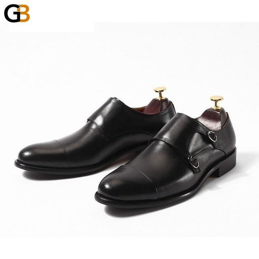Italian Fashion Mens Genuine Leather Monk Strap Shoes Office Work Formal Footwear Social Man Slip On Loafers Wedding Dress Shoes - SolaceConnect.com