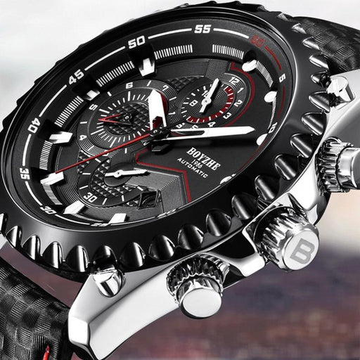 Men's Automatic Mechanical Leather Waterproof Chronograph Sport Wrist Watch - SolaceConnect.com