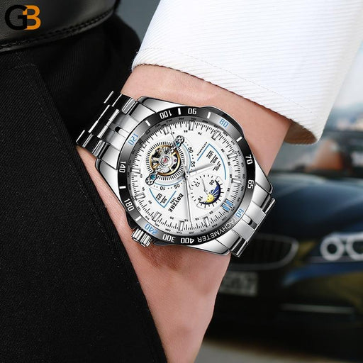 Stainess Steel Moon Phase Calendar Mechanical Tourbillon Watches for Men - SolaceConnect.com