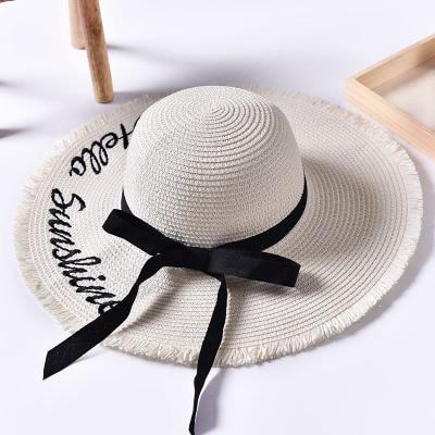 Handmade Weaved Letter Sun Hat with Black Ribbon Lace For Women - SolaceConnect.com