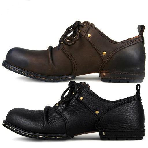 Handmade Genuine Cow Leather Ankle Boots Fashion Men Shoes Boots Rivet Flat Shoes Casual Lace-Up shoes - SolaceConnect.com