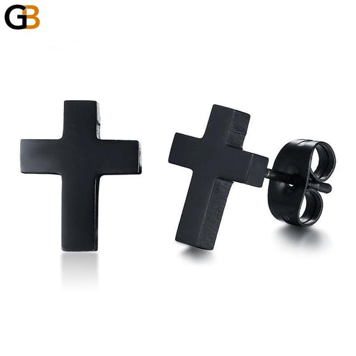 Stainless Steel Classic Black Cross Stud Earrings for Women and Men - SolaceConnect.com
