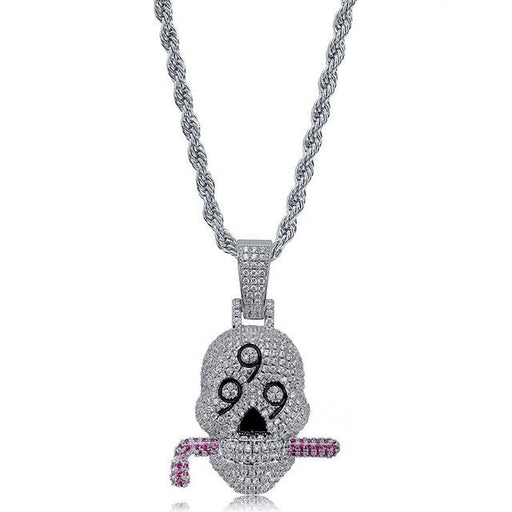 Hip Hop Jewelry Skull Micro Zircon Pendant Chain Rock Men's Necklace - SolaceConnect.com
