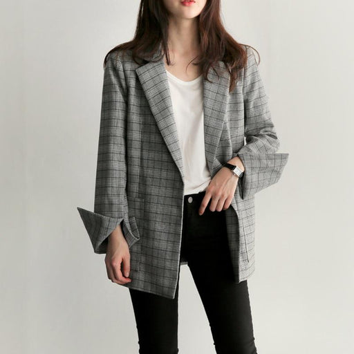 Elegant Gray Plaid Split Sleeve Blazer with Bow Sashes for Women - SolaceConnect.com