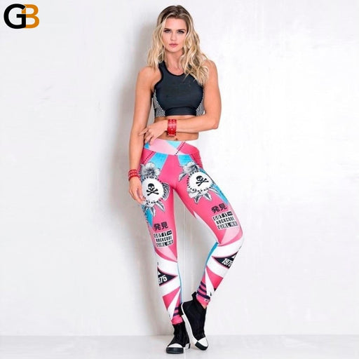 Skull Colorful Digital Printed Cute Cartoon Anime Women Pants High Waist Push Up Girls Punk Rock - SolaceConnect.com