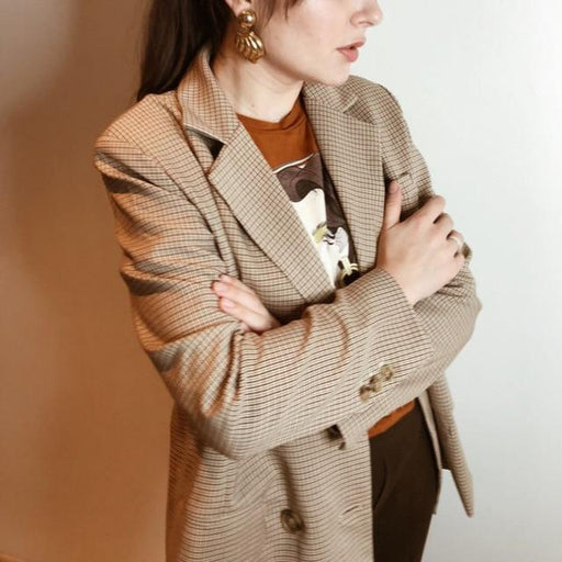 Classic Plaid Double Breasted Women Jacket with Notched Collar - SolaceConnect.com