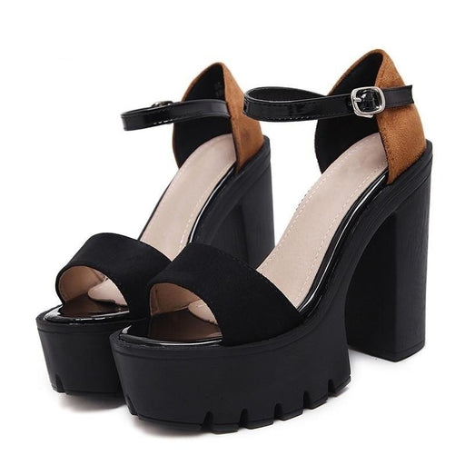 Fashion Women's Platform Block Heels Punk Gothic Sandals with Buckle Strap - SolaceConnect.com