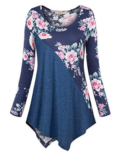Flower Printed Casual White V Neck Long Sleeve T-Shirts for Women - SolaceConnect.com