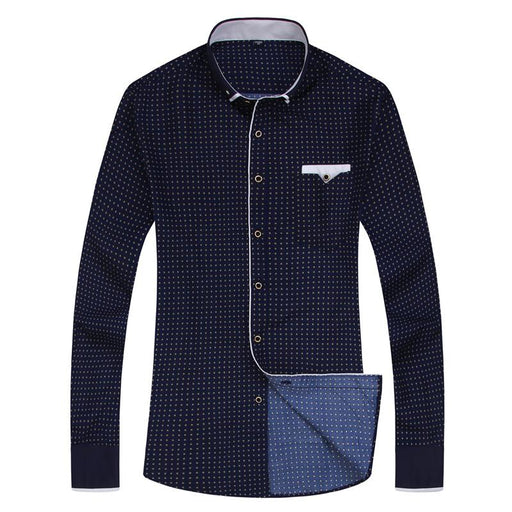 Soft Fabric Long Sleeve Casual Men's Shirt with Stitching Design Pocket - SolaceConnect.com