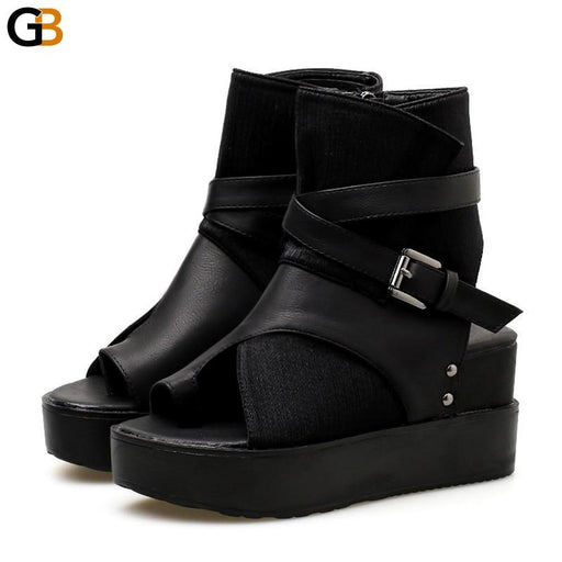 Women's Black Ankle Boots with Peep Toe Buckle and Flat Heels - SolaceConnect.com