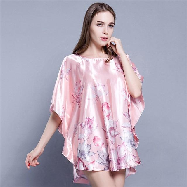 Summer Sexy Women's Satin Printed Nightgown Sleepwear Night Bath Dress - SolaceConnect.com