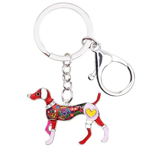 Statement Metal Enamel Whippet Dog Key Chains Keychains Rings Cartoon Animal Jewelry For Women Girls - SolaceConnect.com