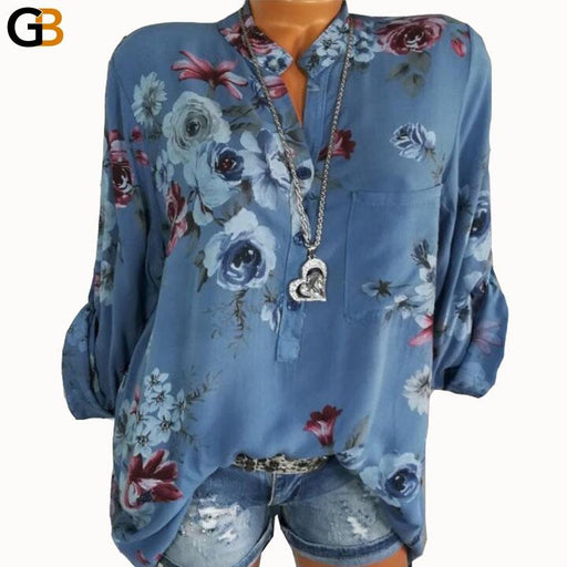 Women's Casual Summer Elegant Long Sleeve Printed V-Neck Chiffon Blouse Top - SolaceConnect.com