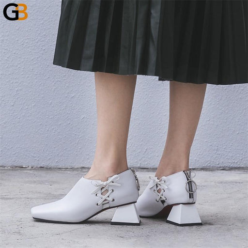 Sexy Women's Genuine Leather Square Toe High Heeled Pumps with Zipper - SolaceConnect.com