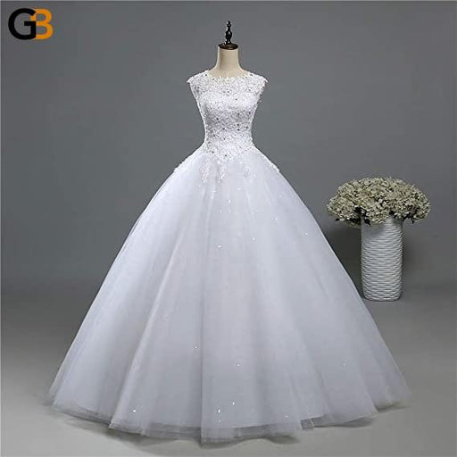Sleeveless Lace Tulle Plus Size Bridal Wedding Dress Shine Skirt Ball Gown - SolaceConnect.com