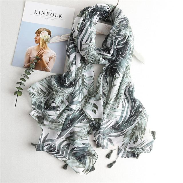 Tropical Print Viscose Hijab Women's Scarf Luxury Beach Fashion Shawl - SolaceConnect.com