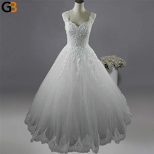 White Ivory Plus Size Wedding Dress for Brides with Pearls Lace Bottom - SolaceConnect.com