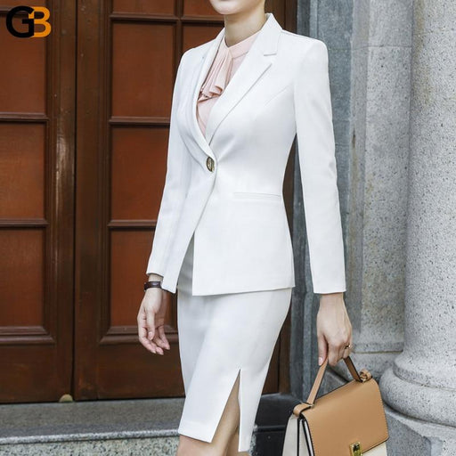 Black White Women's Slim Pantsuit with Long Sleeve Blazer and Trouser - SolaceConnect.com