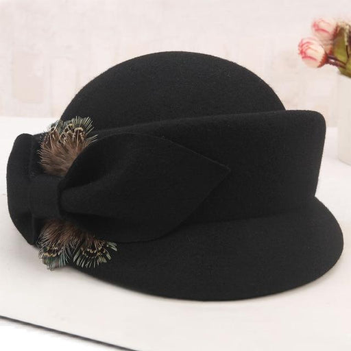 Girls Wool Fedoras Hat Ladies Fall Winter Fashion Elegant Feather Bow Cap Students Leisure Wool - SolaceConnect.com